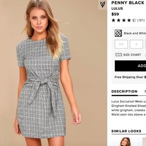 Lulu's gingham/checkered tie front dress